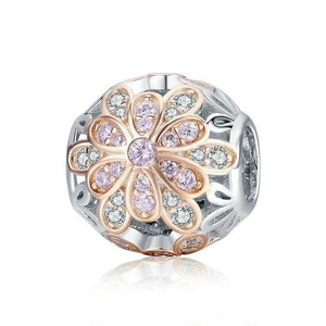925 Sterling Silver Blooming Flower Buds Luminous CZ Pandora Compatible Charm