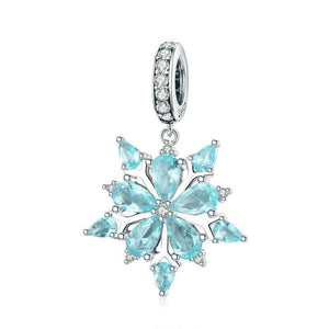925 Sterling Silver Blue CZ Elegant Winter Snowflake Pandora Compatible Dangle Charm