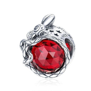 925 Sterling Silver Rose Flower Red Cubic Zircon Beads Charm