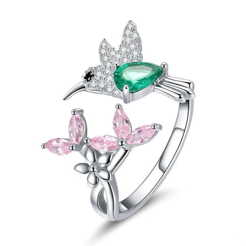 925 Sterling Silver Adjustable Hummingbird CZ Ring