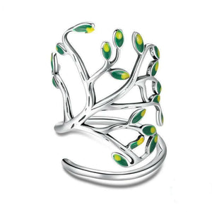 925 Sterling Silver Tree of Life Green Tree Leaves Adjustable Ring