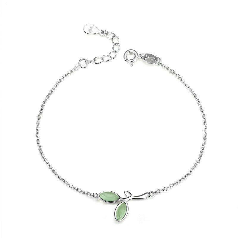 925 Sterling Silver Hope Green Tree Leaves Buds Enamel Women Chain Bracelets