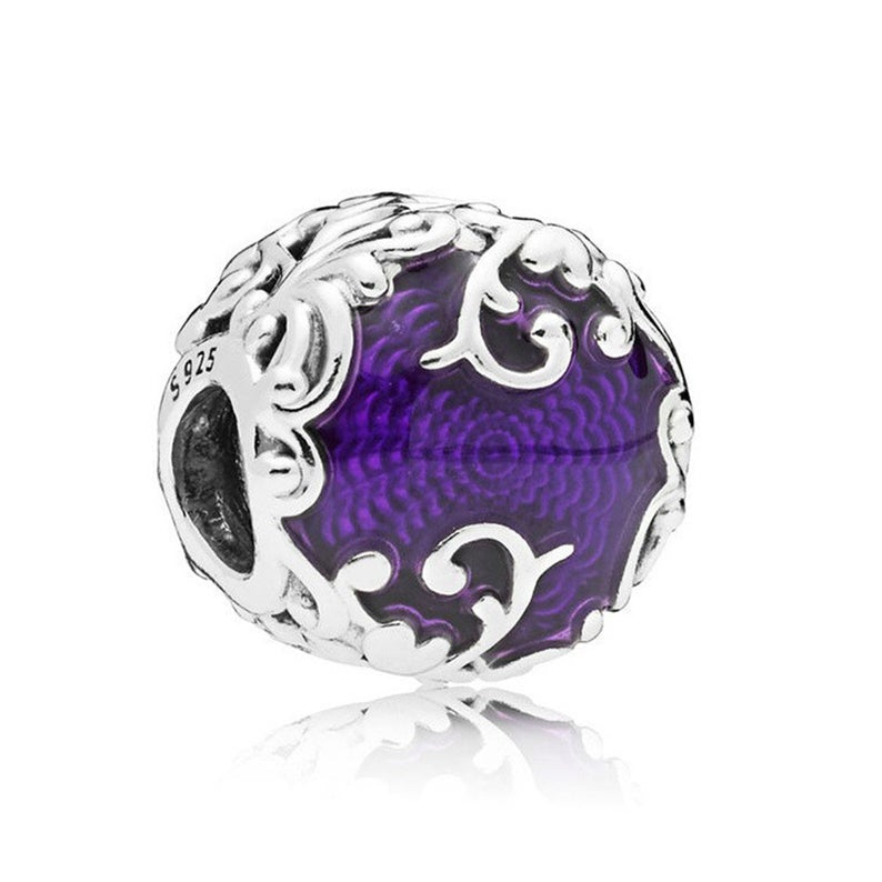 925 Sterling Silver Regal Beauty Purple Pandora Compatible Bead Charm