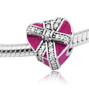 925 Sterling Silver Gift of Love Pink Enamel Pandora Compatible Charm