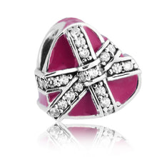 Load image into Gallery viewer, 925 Sterling Silver Gift of Love Pink Enamel Pandora Compatible Charm