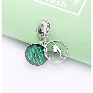 925 Sterling Silver Little Mermaid ARIEL Pandora Compatible Dangle Charm