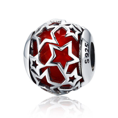 925 Sterling Silver Red Openwork Star Motive Glass Pandora Compatible Bead Charm