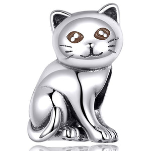 925 Sterling Silver Cat Pandora Compatible Bead Charm