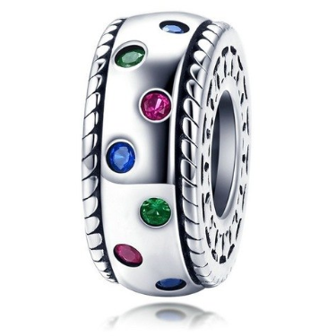 925 Sterling Silver Rainbow/Colourful CZ Pandora Compatible Spacer