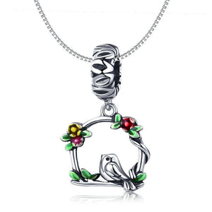 925 Sterling Silver Bird and Cage Pandora Compatible Dangle Charm