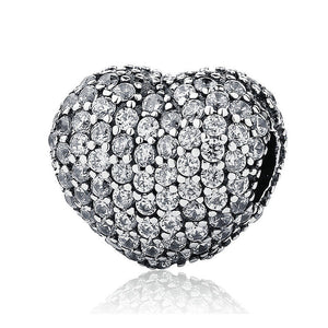 925 Sterling Silver CZ Dazzling Heart Pandora Compatible CLIP