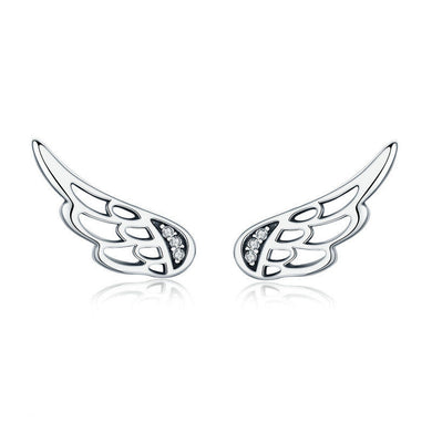 925 Sterling Silver Angel Wings Stud Earrings