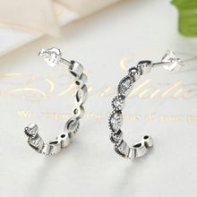 Load image into Gallery viewer, .925 Sterling Silver Vintage CZ Hoop Earrings