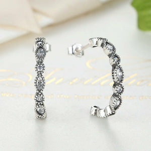 .925 Sterling Silver Vintage CZ Hoop Earrings