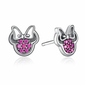 925 Sterling Silver Pink CZ Minnie Mouse Stud Earrings