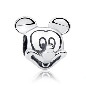 925 Sterling Silver Mickey Mouse Head Pandora Compatible Bead Charm