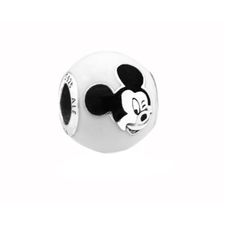925 Sterling Silver Black and White Enamel Mickey Mouse Pandora Compatible Bead Charm