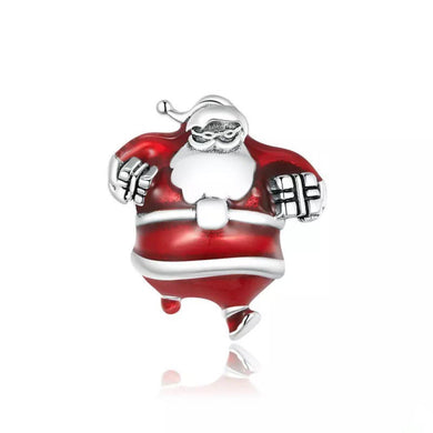 925 Sterling Silver Here Comes Santa Red Christmas Pandora Compatible Bead Charm