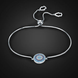 925 Sterling Silver Round Blue Lucky Eyes Power Bracelet Pave CZ Adjustable Link Chain Bracelets Jewelry SCB005