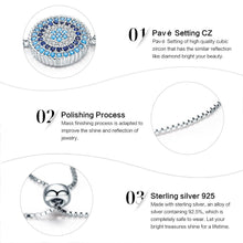Load image into Gallery viewer, 925 Sterling Silver Round Blue Lucky Eyes Power Bracelet Pave CZ Adjustable Link Chain Bracelets Jewelry SCB005