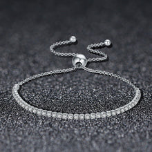 Load image into Gallery viewer, 925 Sterling Silver Sparkling Strand Bracelet Women Link Tennis Bracelet Silver Jewelry SCB029