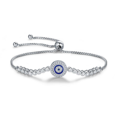 Authentic 925 Sterling Silver Blue Eye Tennis Bracelet for Women Adjustable Chain Bracelet Sterling Silver Jewelry SCB033