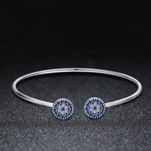 Load image into Gallery viewer, 2018 New 100% 925 Sterling Silver Lucky Blue Eyes Blue CZ Women Open Cuff Bangle & Bracelet Luxury Silver Jewelry SCB058