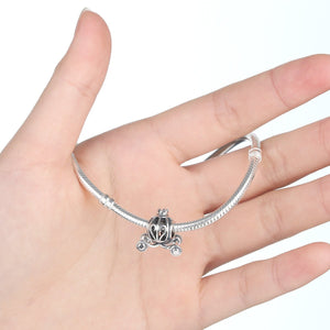 925 Sterling Silver Cinderella Pumpkin Carriage Jewelry Making Beads Strings Pendant Antique Color SCC005
