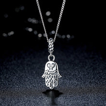 Load image into Gallery viewer, 925 Sterling Silver Lovely Lucky Symbol Egyptian Fatima Hamsa Hand Pendant Necklace for Women and Men Fine Jewelry SCC031