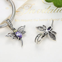 Load image into Gallery viewer, 925 Sterling Silver Dragonfly Insects Purple Charms Pendants fit DIY Bracelets for Women S925 Fine Jewelry SCC048