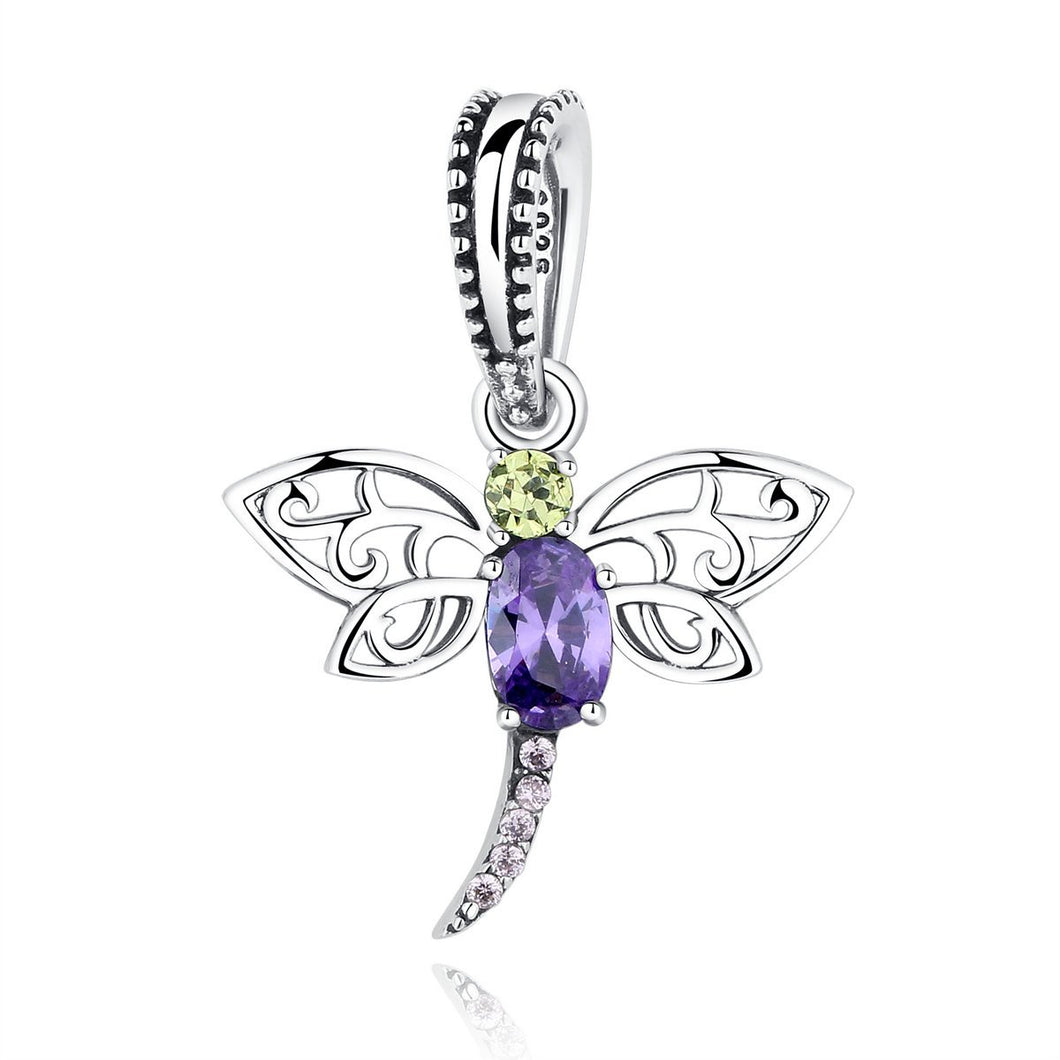 925 Sterling Silver Dragonfly Insects Purple Charms Pendants fit DIY Bracelets for Women S925 Fine Jewelry SCC048