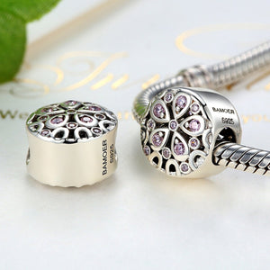 Wholesale 100% 925 Sterling Silver Pink Crystals Flower Bead Charms fit Women Bracelets Beads & Jewelry Makings SCC053