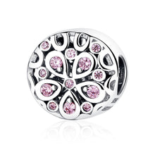 Load image into Gallery viewer, Wholesale 100% 925 Sterling Silver Pink Crystals Flower Bead Charms fit Women Bracelets Beads & Jewelry Makings SCC053