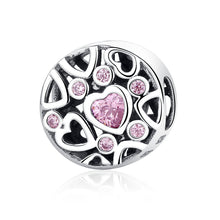 Load image into Gallery viewer, High Quality 925 Sterling Silver Pink Stone Heart to Heart Beads Charms fit Women Bracelets & Necklaces Jewelry SCC054