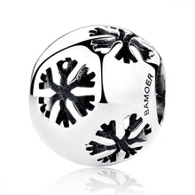 Load image into Gallery viewer, 925 Sterling Silver Christmas  Winter Snowman Snowflake Openwork Beads for Charms Bracelets and Necklaces SCC070