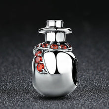 Load image into Gallery viewer, 925 Sterling Silver Christmas Collection Winter Snowman Design Necklace Pendant for Women Jewelry with Clear  Garnet red CZ    SCC072