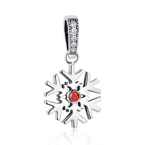 925 Sterling Silver Christmas Snowflake Necklace Pendant for Jewelry Making with Garnet Red CZ SCC075