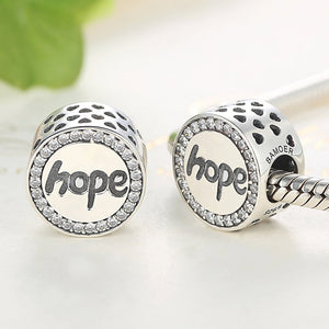 925 Sterling Silver CZ Hope Pandora Compatible Bead Charm