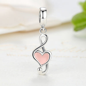 100% 925 Sterling Silver Pink Heart Pendant Music Note Charms Fit Pandora Bracelets Women Fashion DIY Jewelry SCC110