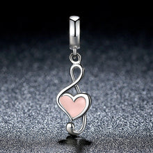 Load image into Gallery viewer, 100% 925 Sterling Silver Pink Heart Pendant Music Note Charms Fit Pandora Bracelets Women Fashion DIY Jewelry SCC110