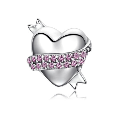 925 Sterling Silver Ribbon Hug Gentle Heart Shape Charm & Pink CZ Charm fit Bracelet Jewelry Accessories SCC130