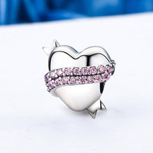 Load image into Gallery viewer, 925 Sterling Silver Ribbon Hug Gentle Heart Shape Charm & Pink CZ Charm fit Bracelet Jewelry Accessories SCC130