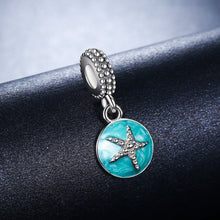 Load image into Gallery viewer, 925 Sterling Silver Clear CZ Starfish & Sea Green Enamel Pendant Charm fit Bracelet Jewelry SCC136