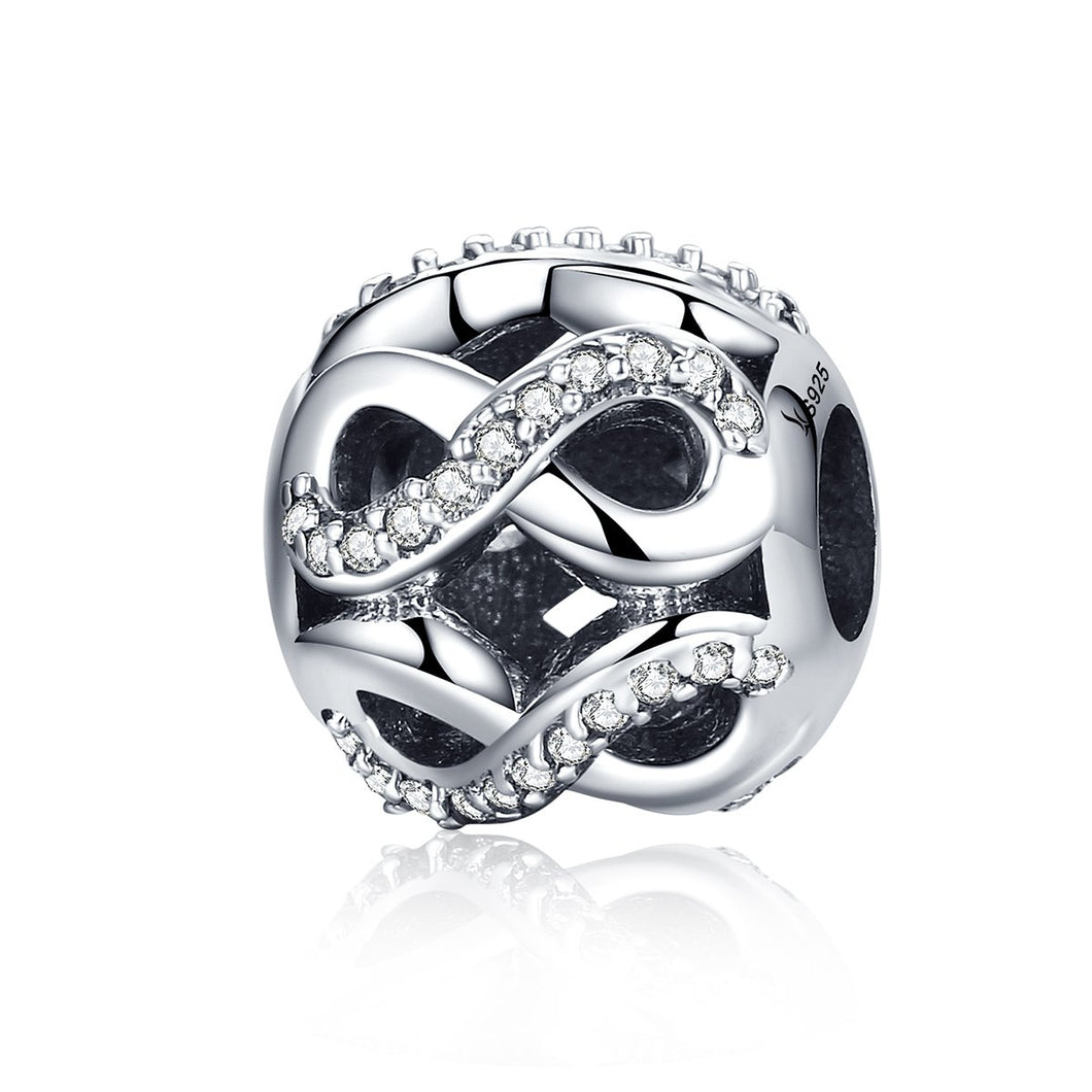 925 Sterling Silver Openwork Infinite Love Clear CZ Beads Charms fit Bracelets & Bangles DIY Fine Jewelry SCC141