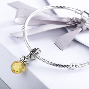 925 Sterling Silver Summer Yellow Crystal Pineapple CZ, Charm Beads fit Charm Bracelet DIY Jewelry SCC150