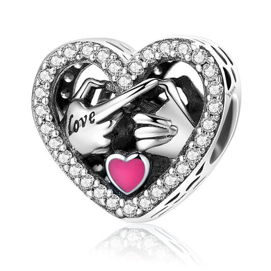 925 Sterling Silver Commitment To Love Hand Pink Enamel Heart Beads fit Women Charm Bracelets Jewelry Gift SCC166
