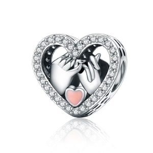 Romantic Genuine 925 Sterling Silver Promise For Love Heart Beads fit Original Charm Bracelet DIY Jewelry Gift SCC167