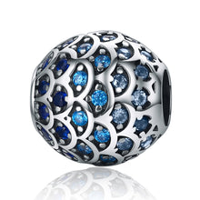 Load image into Gallery viewer, 925 Sterling Silver Daughter Of Sea Gradual Change Blue Fish Scales Beads fit Bracelets Jewelry Gift  SCC169