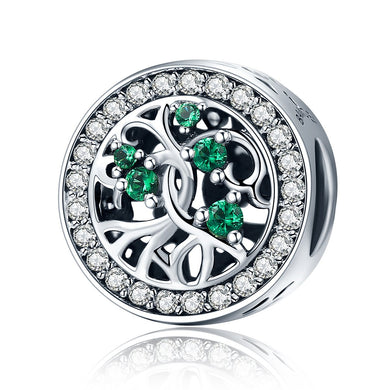 925 Sterling Silver Tree Of Life Green Cubic Zircon Beads Charm fit Women Bracelets DIY Jewelry Gift SCC179