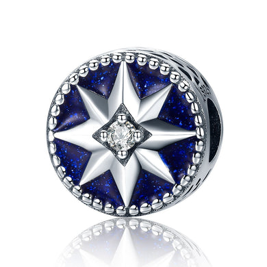 925 Sterling Silver Freeze Snowflake & Star Blue Enamel Dazzling CZ Beads fit Charm Bracelets for Women Jewelry SCC205
